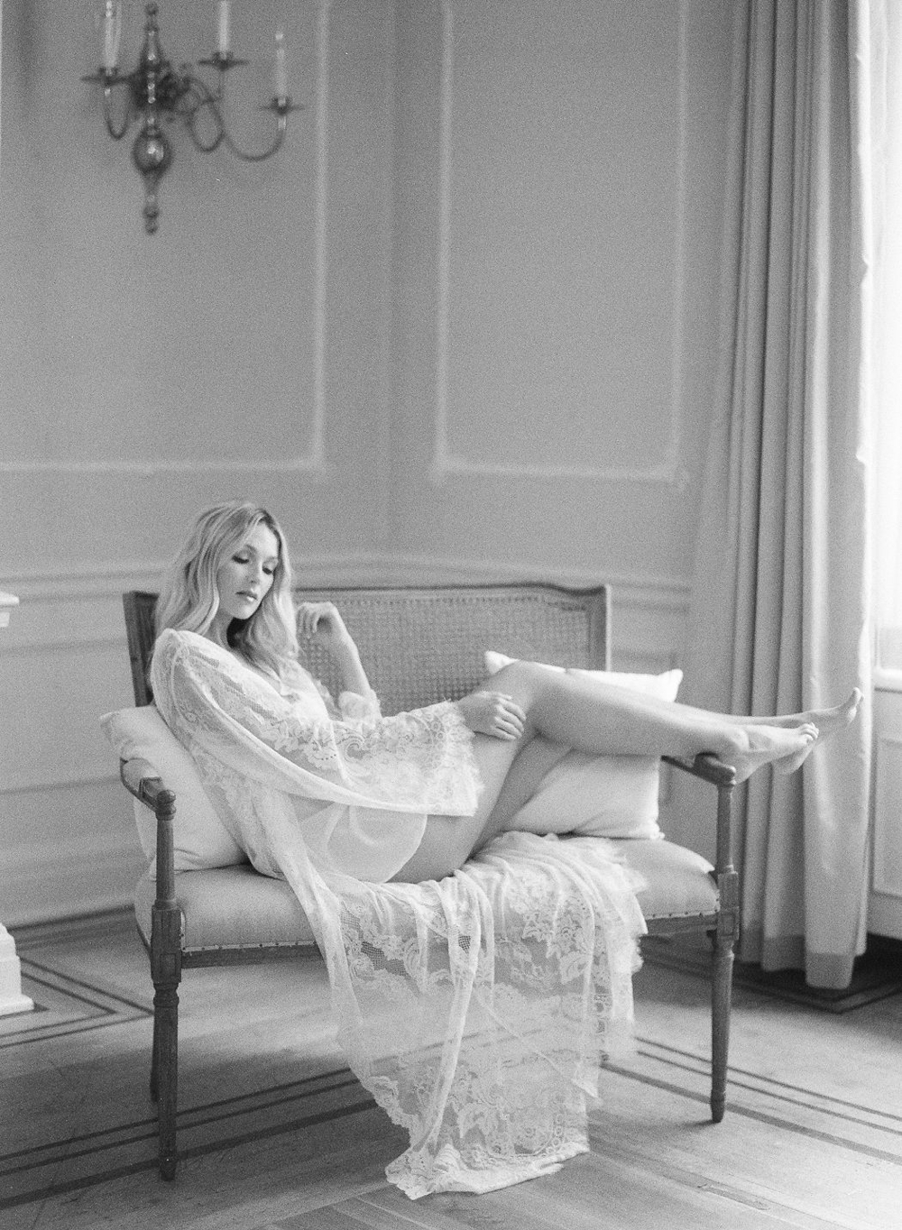 The Bride in a lace robe