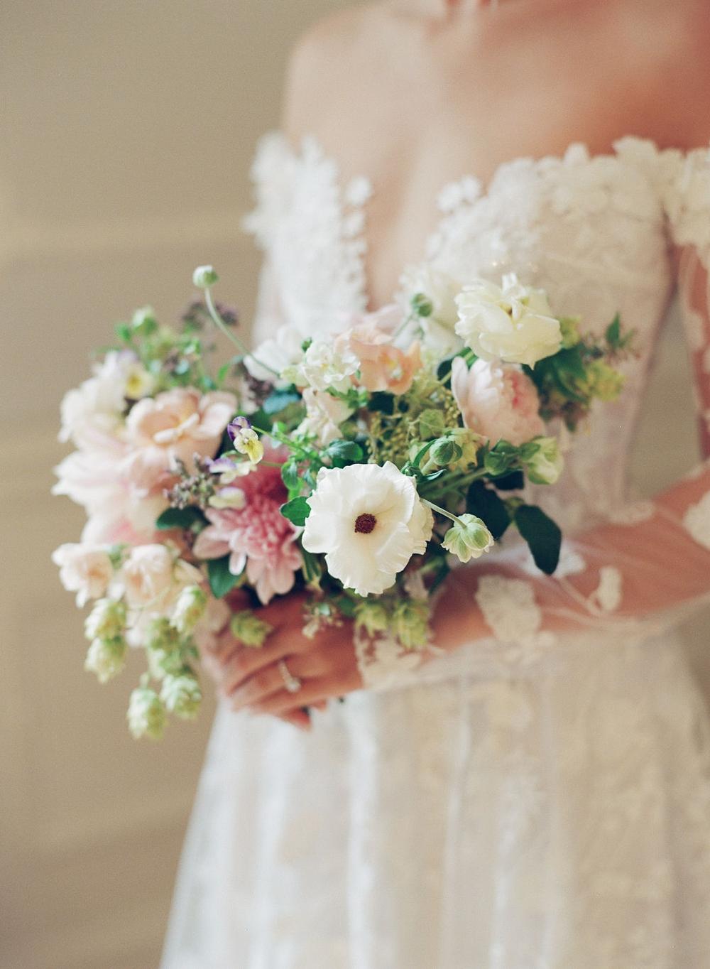 Bride with wedding boquet